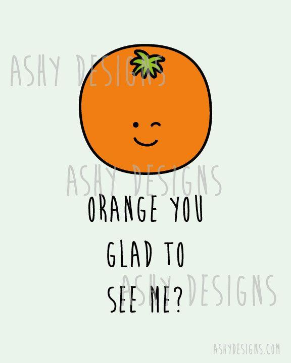 Orange Wall Art Print Instant Download ORANGE You by AshyDesigns
