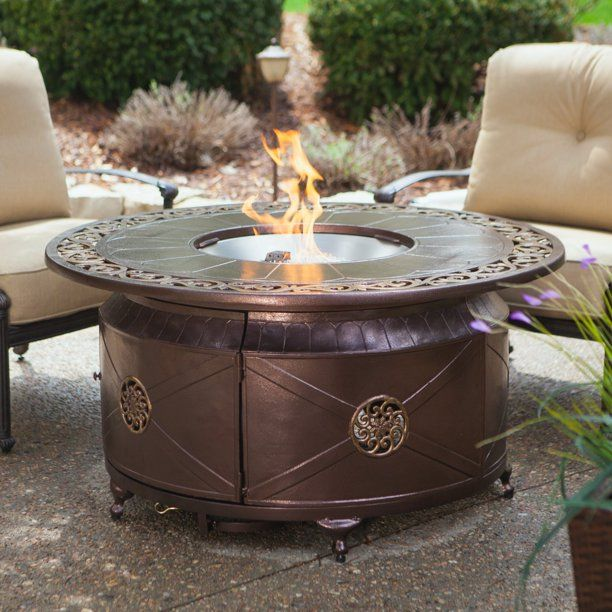 Belham Living Richland 48 Diam Decorative Scroll Fire Table Outdoor Propane Fire Pit Outdoor Fire Pit Table Propane Fire Pit