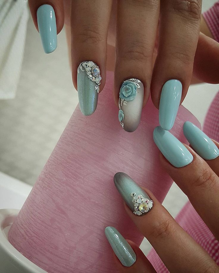 tiffany blue rose nails