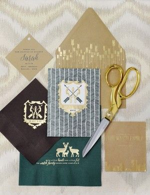 Haute Papier's custom baby collection.  Letterpressed and foil stamped designs available for personalization. This crest with a custom monogram was created for a very special baby shower.