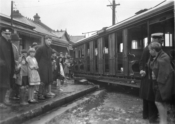 A derailed Marrickville-to-Circular Quay tram runs into house at Redfern, 6 September 1934, photograph by Sam Hood. Find more informatio about this photograph: http://acms.sl.nsw.gov.au/item/itemDetailPaged.aspx?itemID=42426. From the collections of the Mitchell Library, State Library of New South Wales www.sl.nsw.gov.au...