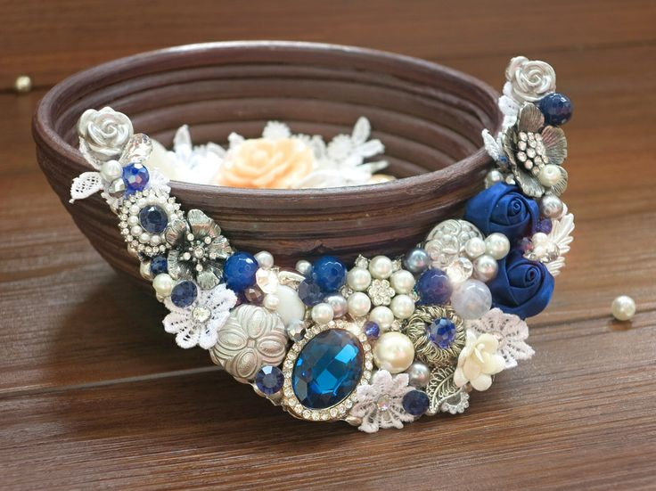 Vignette Collections - Sapphire :: Vintage Handmade Necklace :: Royal Blue, Silver, Antique, Vintage, Classic
