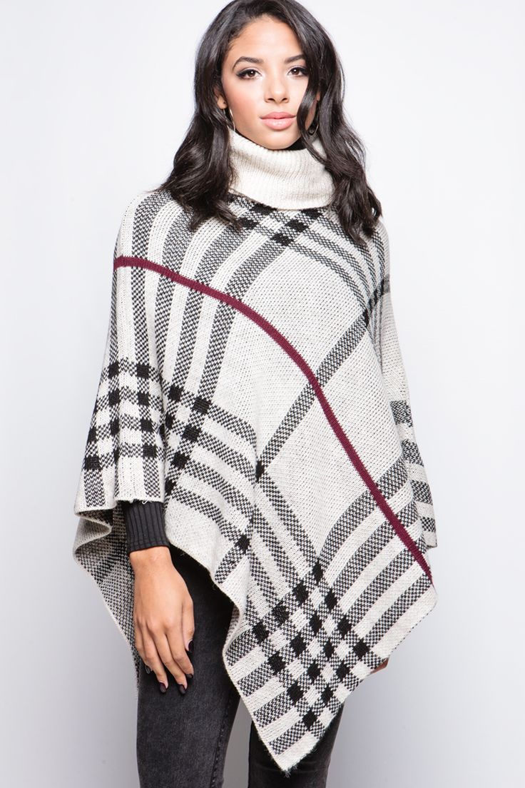 Maisie Beige Check Print Cowl Neck Cape at misspap.co.uk