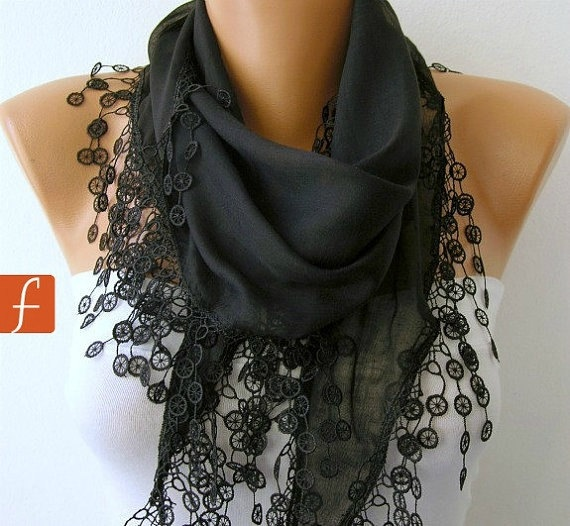 Black Shawl Cotton Scarf Cowl with Lace Edge by fatwoman 1500 Fashion Scarf Mother's Love
