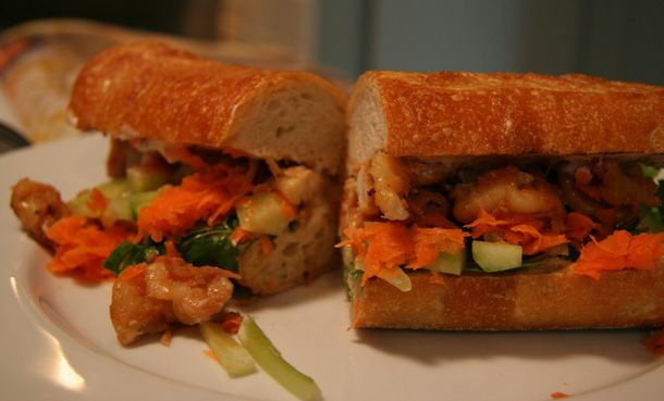 Vietnamese Prawn Sandwich recipe from a Gwyneth Paltrow cookbook. If you're not pressed for time, this recipe of Gwyneth's is fairly easy. Be sure to get food picks for holding the contents together and for making cutting into halves or thirds much easier.