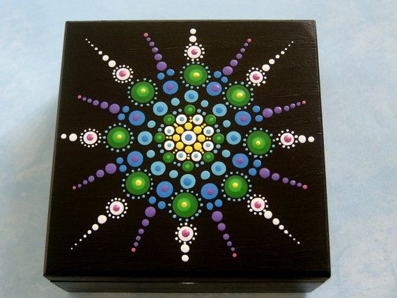 Jewelry box, painted wood trinket stash box, ooak black chakra art, treasures keepsakes collectibles, Holiday gift ideas, for Him, for Her