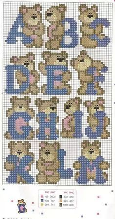 baby cross stitch patterns teddy bears - Google Search