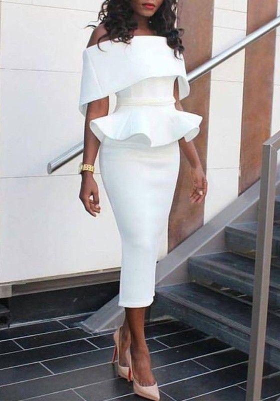 White Plain Ruffle Bandeau Peplum Off Shoulder Elegant Bodycon Midi Dress