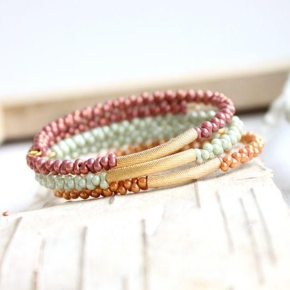 Wrap Cuff Bracelet Set Peach Mint Green Pink Raspberry Metallic Pastel Beaded Handmade Fashion Jewelry