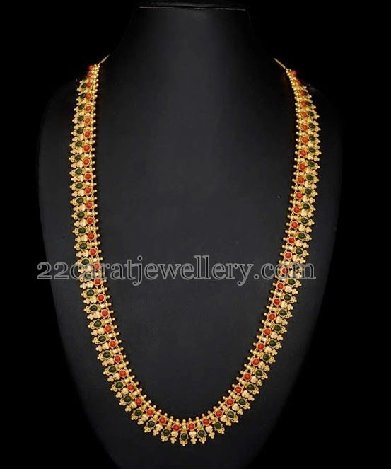 Jewellery Designs: Colorful Haram with Red Corals