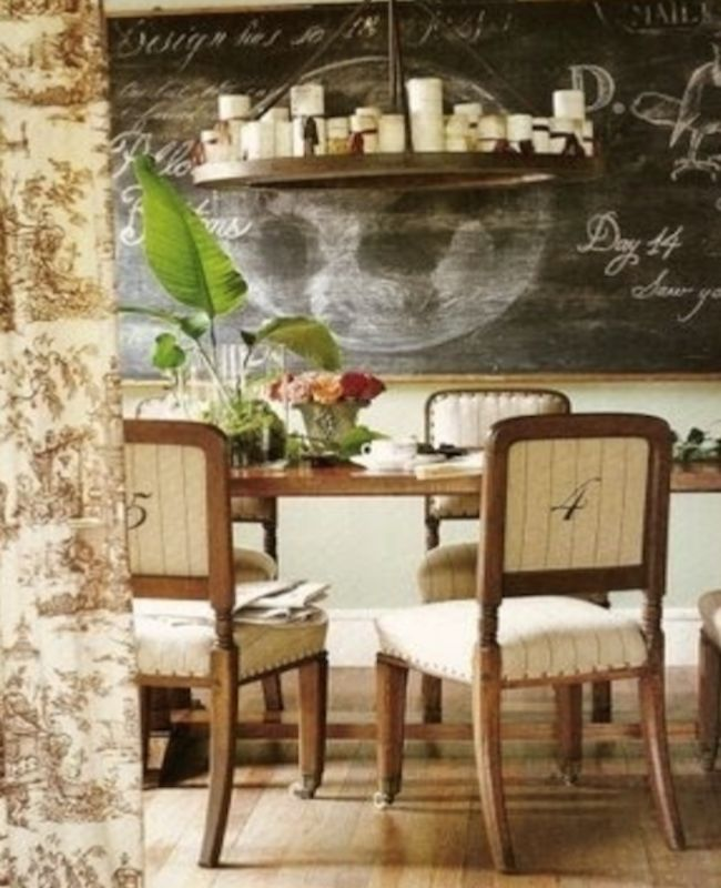 Sublime Cream And Tobacco Brown Coloured Dining Area With An Old School Room.  The Little