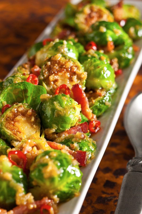 Fatty 'Cue Brussels Sprouts Recipe - NYT Cooking made with bacon, maple syrup, Thai chilies