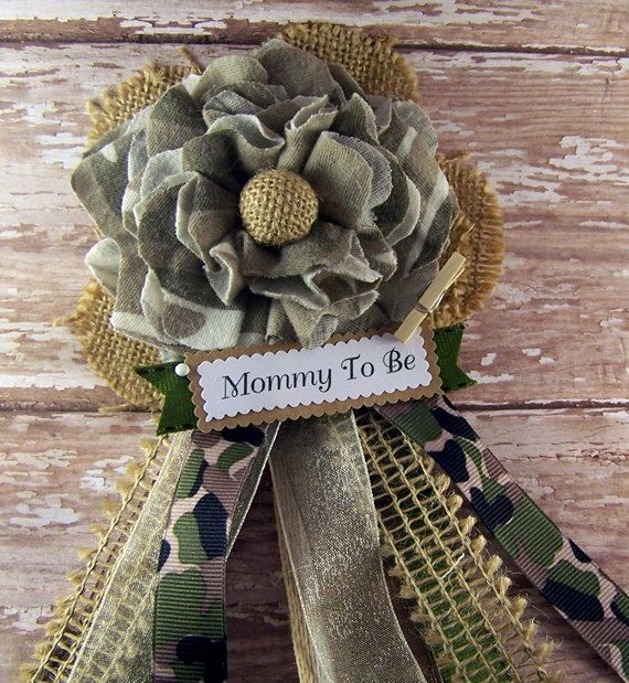 Camo Mommy To Be Corsage Baby Shower Corsage Camo by BloomingParty, $18.00