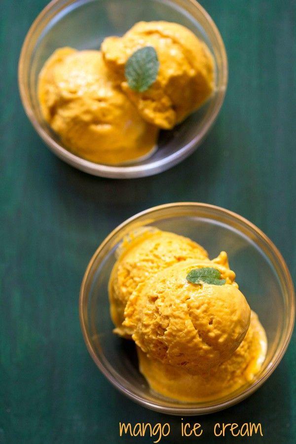three ingredient mango ice creammade with mangoes, fresh cream and sugar/honey. Adding vanilla is optional.