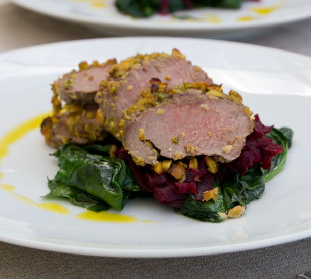 Pistachio-Crusted Lamb Loin Fillets with Beetroot Confit