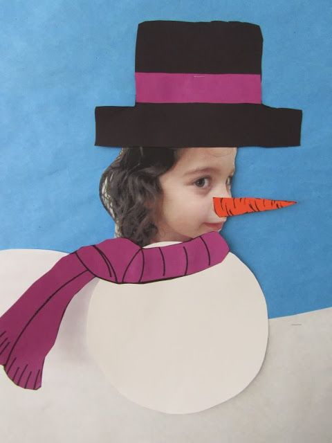Snowman activities: Picture-perfect snowmen.  Take a side view photo of your kiddos then have them make a snowman.  You could also give them a small, medium & large circles to put together then put their photo on the face or on the tummy.