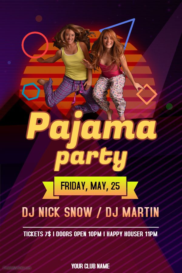 Disco Custom Pajama Party Flyer Design Template