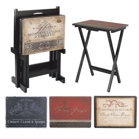 Captivating Cape Craftsmen Tuscan Wine Labels TV Tray With Stand (Set Of 4). Snack  TablesTray ...