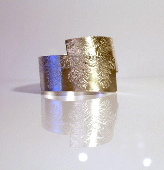 Bold Fern etch Sterling Silver Statement Bangle - Adjustable Bangle £350.00