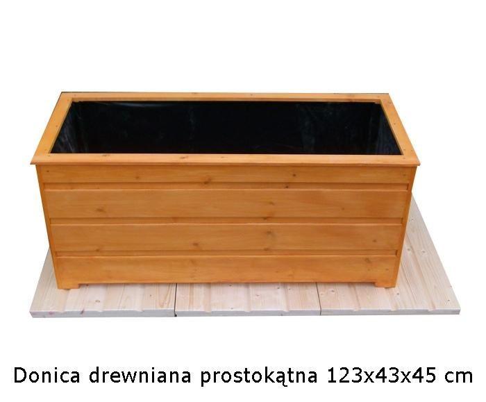 Donica drewniana prostokątna 123x43x45 cm