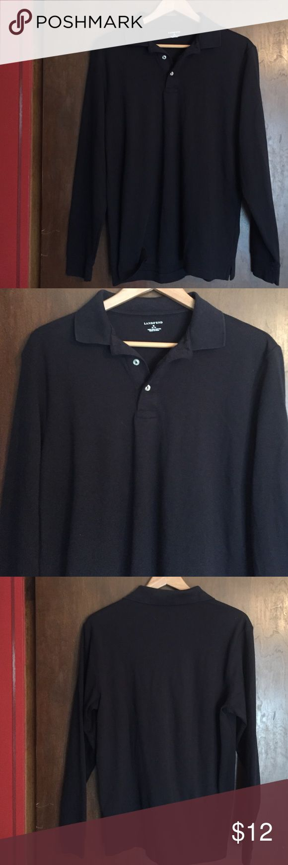 NWOT Lands' End Men's Long Sleeve Polo Shirt New NWOT Lands' End Men's Long Sleeve Polo Shirt New without tags. Navy blue, size M medium 38-40, 100% pima cotton, no defects Lands' End Shirts Polos