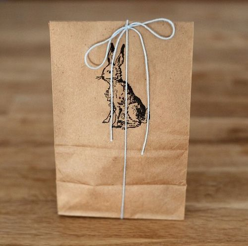 paper bags, vintage stamp, tied with string. perfect