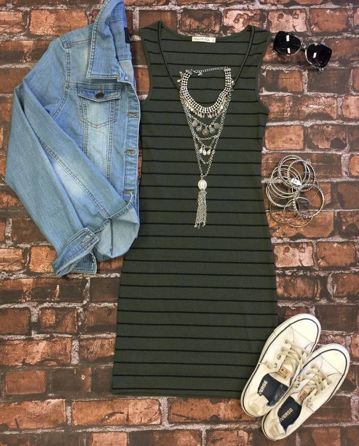 Ribbed Striped Tank Dress: Olive from privityboutique