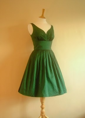 green dress with vintage styling