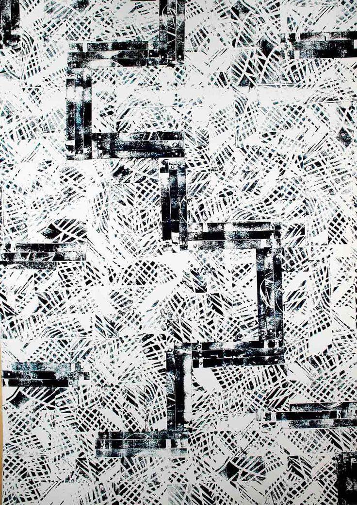 CAMPI ARATI ZOA xilografia monocromatica a matrice mobile – inchiostro all'acqua su rosaspina - 70x100 - 2013   l'opera ripropone in se un tipico paesaggio di campagna meridionale con campi arati e stradine interpolerai.
