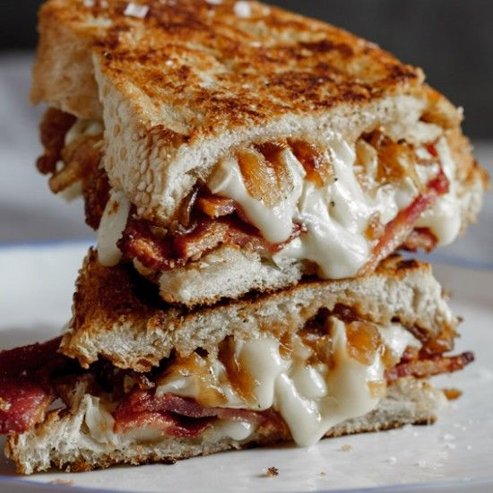 Crispy bacon & brie grilled cheese sandwich with caramelised onions  -- Baja Mamas Party Potions: http://www.bajamamas.com