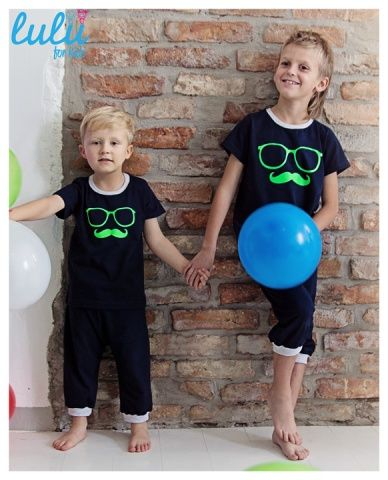 Perfect PJ set for mustache-lovers! Loosy pants and cool top with fluo print!