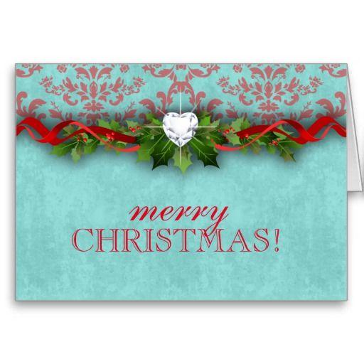 Christmas New Year Damask Heart LOVE Greeting Card
