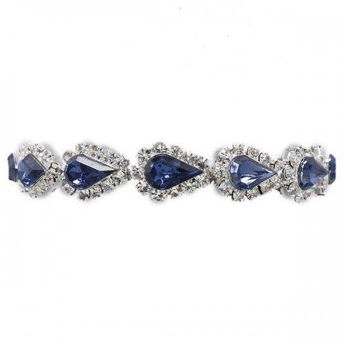 Glitzy Glamour Black Teardrop Crystal Diamante Tennis Bracelet j2yfu2