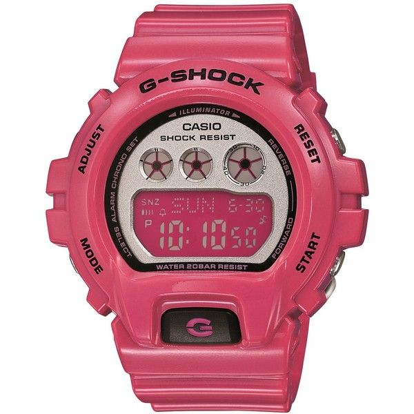 G-Shock Women's Digital Pink Resin Strap Watch 49x46mm GMDS6900CC-4 (1.366.100 IDR) ❤ liked on Polyvore featuring jewelry, watches, digital watches, g-shock, sport watch, digital sport watch and digital wrist watch