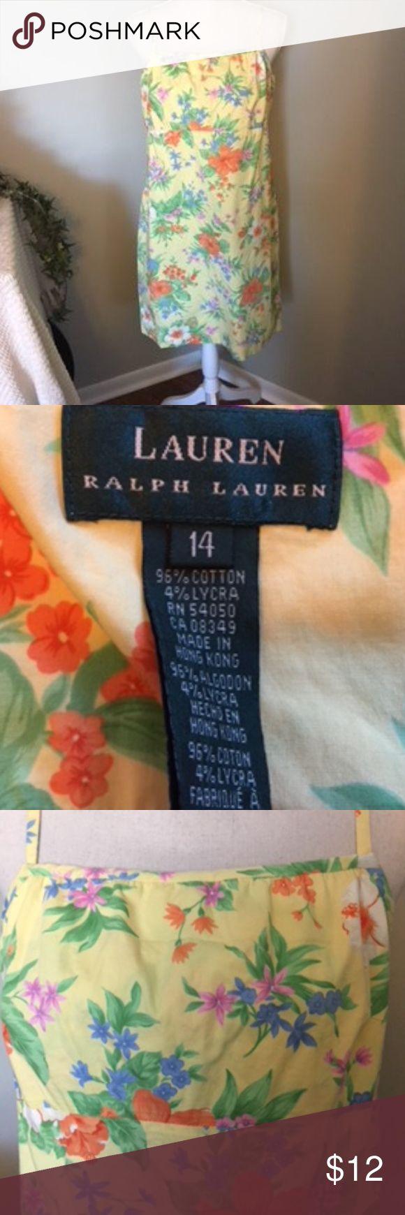 Lauren Ralph Lauren Dress Beautiful Ralph Lauren Dress Has Adjustable,  Straps Back Zipper,  Lined Bounce.  Fabric is Colorfully Done in Yellow, Orange, Green, (other)   Crisp but Soft Fabric in 96% Cotton 4% Lycra.  Size 14 Lauren Ralph Lauren Dresses