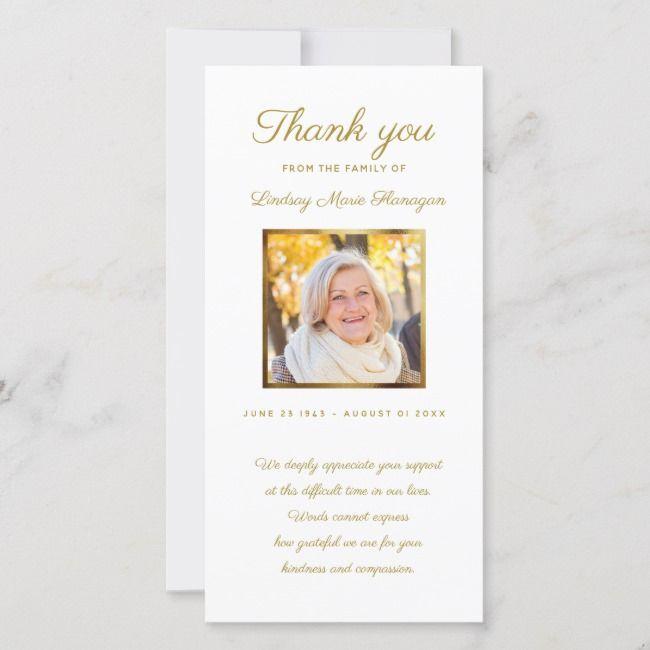 Modern Sympathy Memorial Gold Photo Frame Thank You Card Zazzle