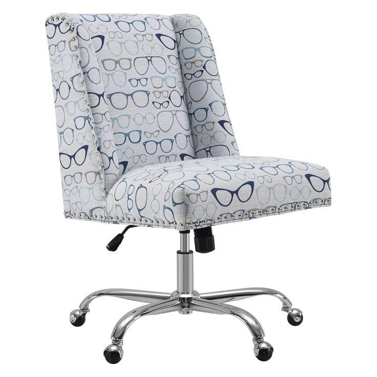 Linon Dobby Upholstered Glasses Office Desk Chair - OC047GLAS1U