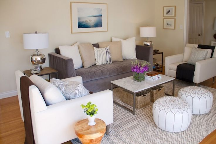 neutral living room--Suzie: Turquoise LA - Chic living room with ivory walls paint color, gray velvet tufted high ...