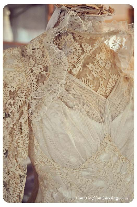 Clothing:  Vintage Victorian Handmade Wedding Dress.