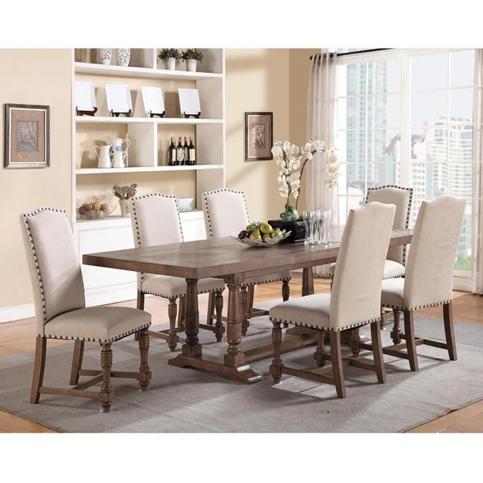 Bakersfield Xcaliber 7 Piece Dining Set With 1 Leaf And 6 Upholstered Chairs Nailheads ChairsNebraska Furniture MartSide