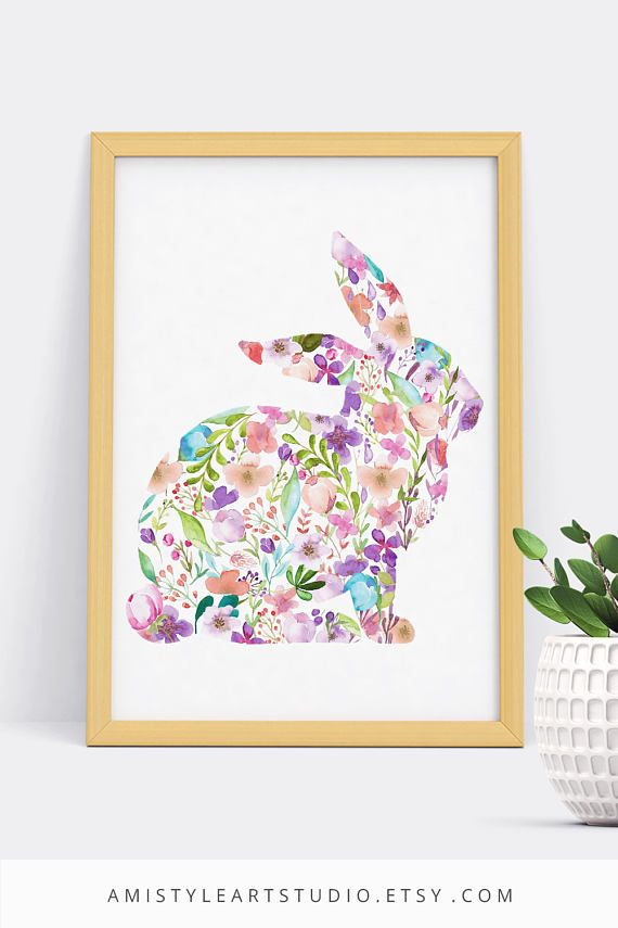 Printable wall art - Nuresry Decor - embellished with watercolor floral design elements on a bunny silhouette by Amistyle Art Studio on Etsy