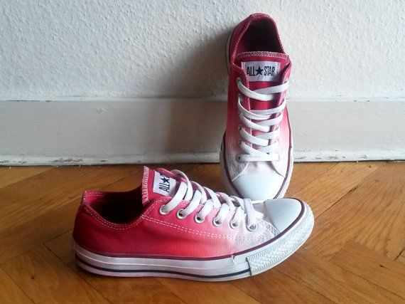 Cranberry red ombre Converse upcycled vintage dip dye by Femchan, €22.50