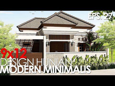 (eps. 27) desain rumah modern minimalis 9x12 3 kamar tidur