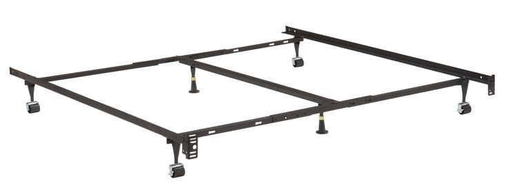 Metal Adjustable California King, King, Queen, Full, Twin, Universal Heavy Duty Bed Frame With Center Support Rail, 6 Legs, 2 Center Support, 2 Rug Rollers and 2 Locking Wheels