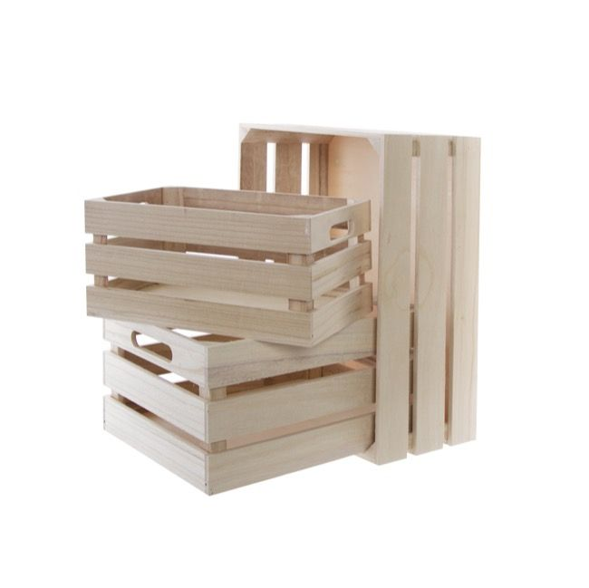 Wooden Crate Box Set of 3 Natural (41x30x18cmH)