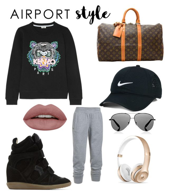 """Untitled #44"" by renataoczak on Polyvore featuring Kenzo, Isabel Marant, Louis Vuitton, NIKE, Victoria Beckham, Under Armour and airportstyle"