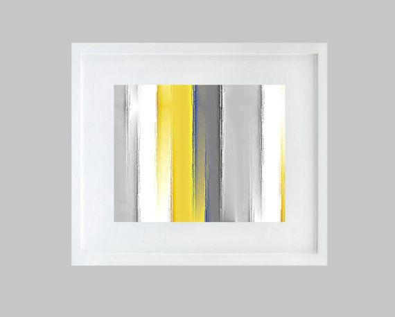 striped wall art yellow grey white blue 8x10 abstract print modern