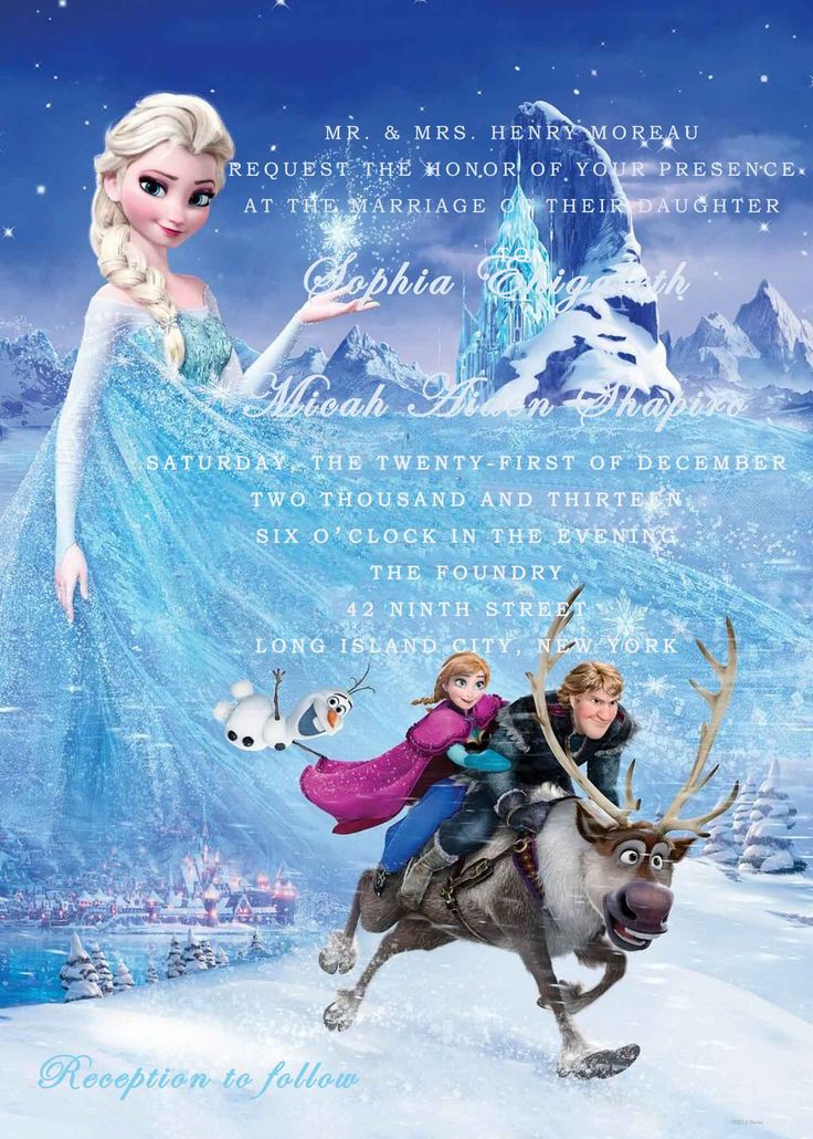 Beautiful Blue Frozen Themed Wedding Invitations HPI284