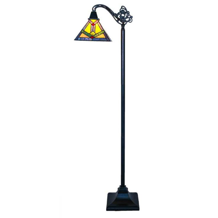 River of Goods 60 in. Multi-Colored Side Arm Floor Lamp with Stained Glass Southwestern Sunrise Shade