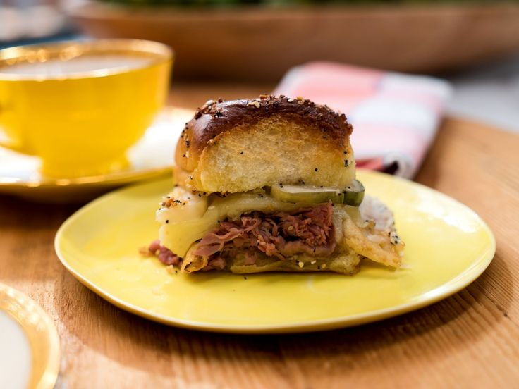 """Baked Roast Beef and Provolone """"Tea"""" Sliders on Everything Buns recipe from Jeff Mauro via Food Network"""